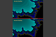 Mandelbrot set showing comparison between shading styles